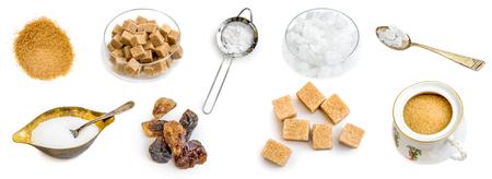 Collage de fotos de azúcar marrón y blanco ámbar aislado Foto de archivo - 91712325