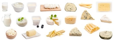 collage various types of cheeses isolated Stockfoto