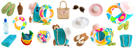 Photo collage of beach accessories and toys