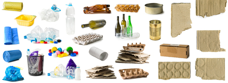 set of different types of trash isolated
