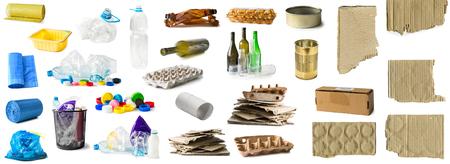 Set von verschiedenen Arten von Müll isoliert Standard-Bild - 91712329