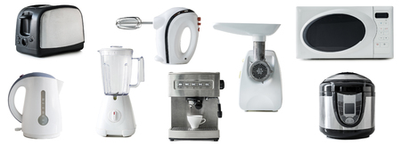 Collage Of Different Types Of Kitchen Appliances Isolated On.. Stock ...