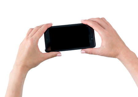 Smartphone in hands isolated on white background