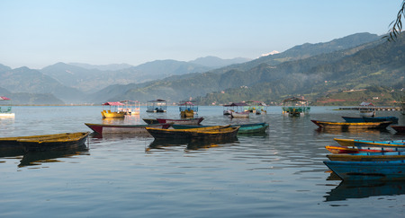 Lake in the Pokhara at Sunrise. Beautiful view