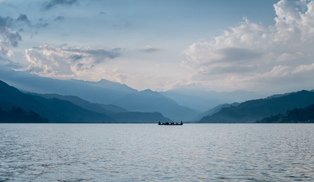 Lake in the Pokhara at sunset. Beautiful view Stock Photo