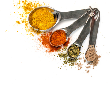 bright spices in measuring spoons