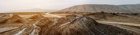 Panoramic view of mud volcanoes, Gobustan Stock Photo