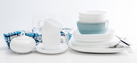 Stock Photo - White square dinnerware set with glasses & White Square Dinnerware Set With Glasses Stock Photo Picture And ...