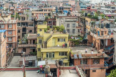 View on multistorey houses in Kathmandu, Nepal Stok Fotoğraf - 94725170