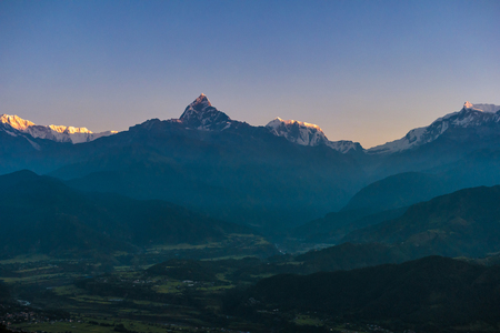 Twilight sky and mist over mountains, Pokhara city, Nepal
