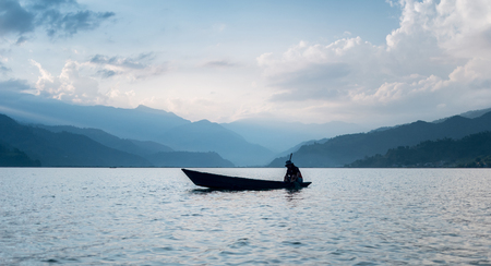 Lake in the Pokhara at sunset Stock Photo