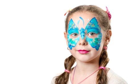Meisje met modieuze vlinder gezicht kunst Stockfoto