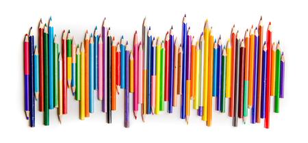 Bright color pencils in a row