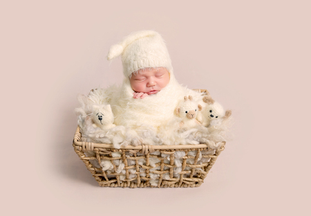 Charming newborn baby with chubby cheeks sleeping happily