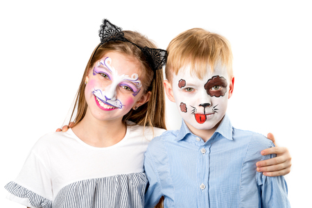 Happy children with face paintings on white background Standard-Bild - 98703227