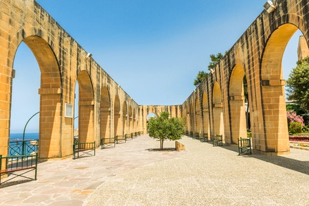 terrace in Upper Barrakka Gardens. Valletta 写真素材