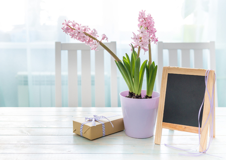 Hyacinth flowers with giftbox and small chalkboard