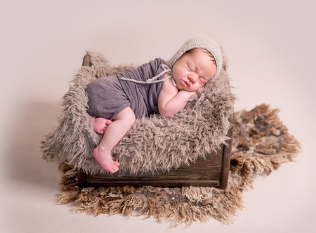 Sleeping newborn baby boy Stockfoto
