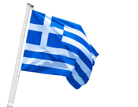 Greek flag on flagpole isolated on white background