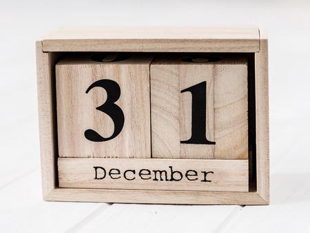 Wooden calendar that shows thirty-first of december