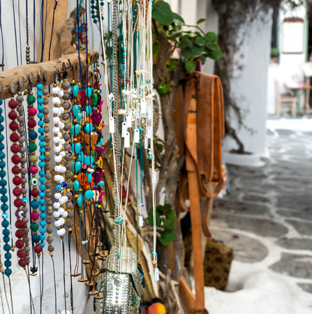Jewelry and accessories at the street market in Greece Banco de Imagens