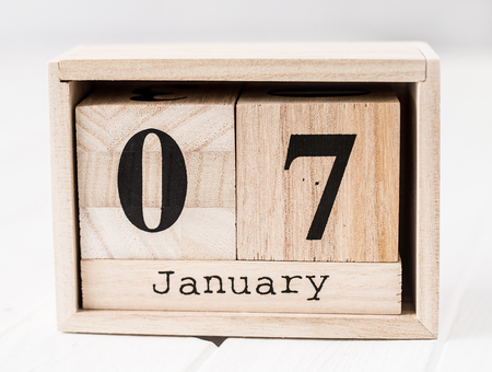 Wooden calendar that shows seventh of january Stok Fotoğraf
