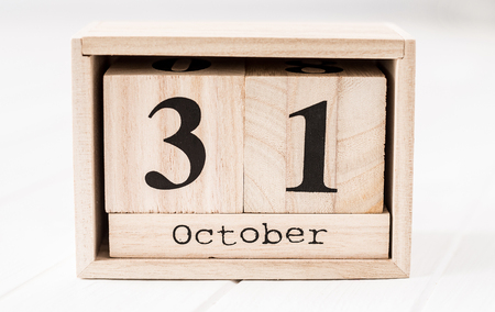 Wooden calendar that shows thirty-first of december