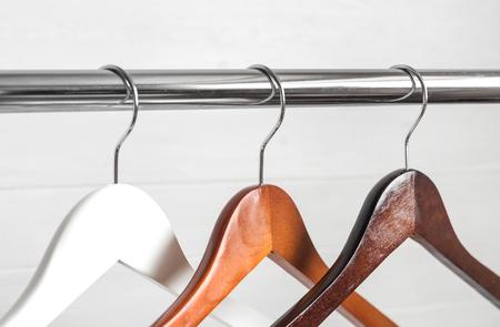 wooden hangers on the rack