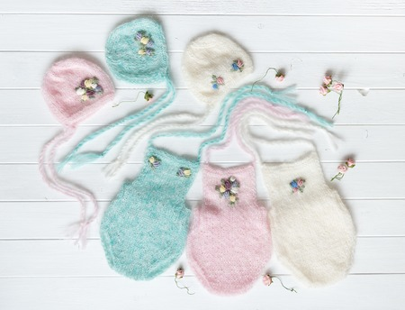set of tender knitted hats for newborn