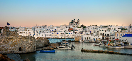 old port in Paros at sunset. Greece