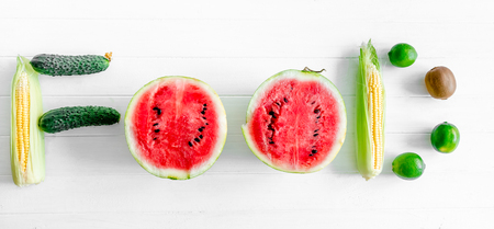 berriess ,fruits and vegetables set in a word Stock Photo