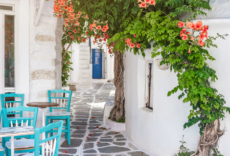 Narrow street with white houses, Greece