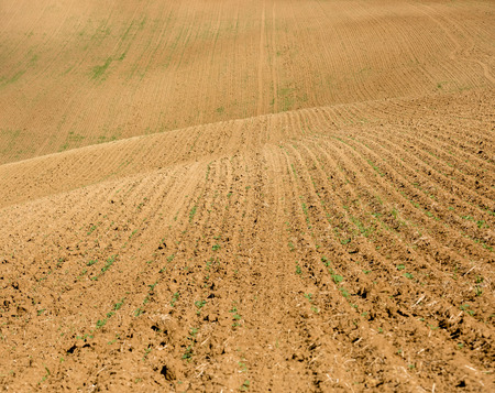 Aerial view of brown ground of field Stock Photo