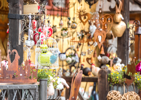 View of different souvenirs and decorations street store