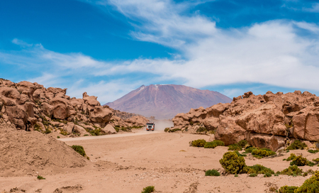 Car in Bolivian desert Stock Photo
