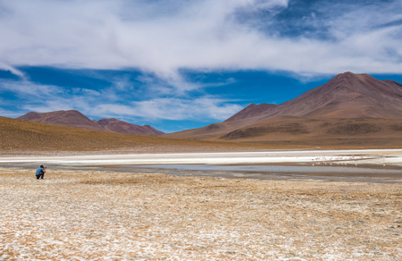 Sunshine view of Bolivian mountanious lagoon