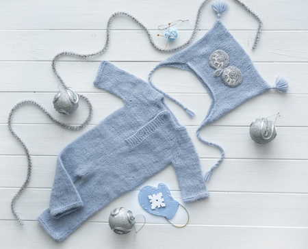 knitted handmade clothes for infant boys, topview