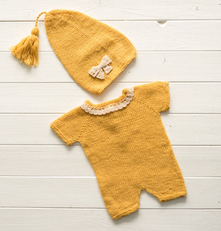 Colorful knitted clothes for babies