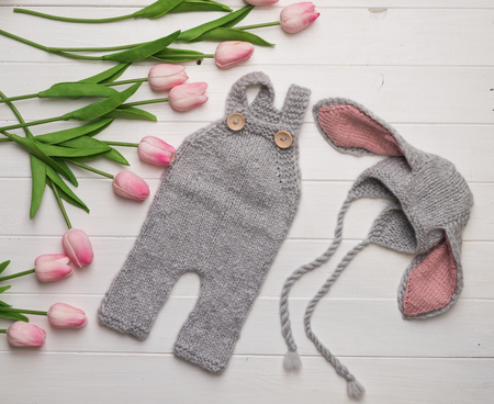 beautiful hat and pants for newborn Stock Photo