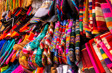 Different colorful laces on the souvenir store in Bolivia Фото со стока