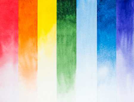 Rainbow watercolor composition in separated stripes