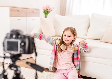 Little girl recording video
