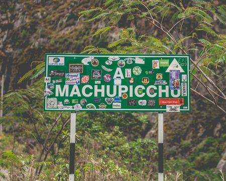 Road sign of Machupicchu 스톡 콘텐츠