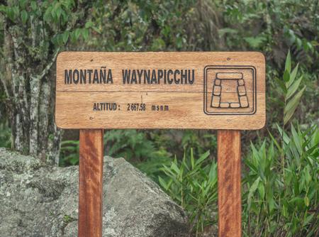 Wooden Huayna Picchu sign, Peru