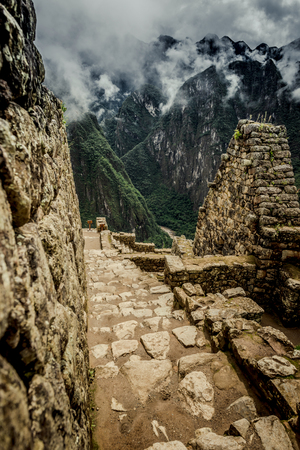 Incas architecture in front of Huayna Picchu