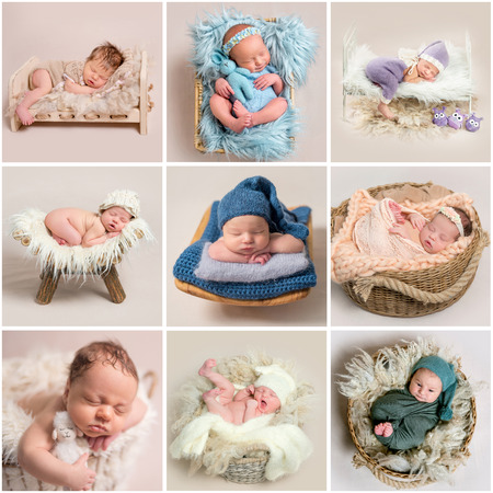 Set of newborn babies