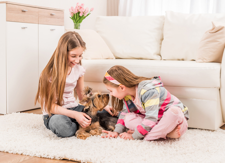 Two girls playing with yorkie