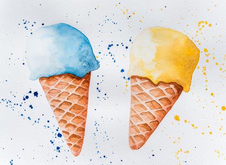 Watercolor drawing of ice cream Banco de Imagens - 122288519