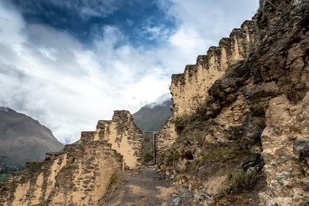 Big mountain wall in Ollantaytambo