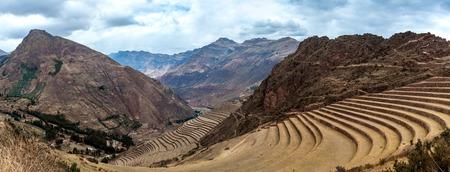 Terraces at Incan ruins in Pesac, Peru 写真素材